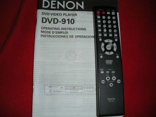 Denon RC 943 Remote Control for DVD 910 w Manual