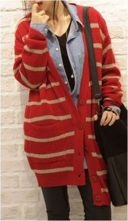 Button Down V Neck Striped Knit Cardigan s M Black Red