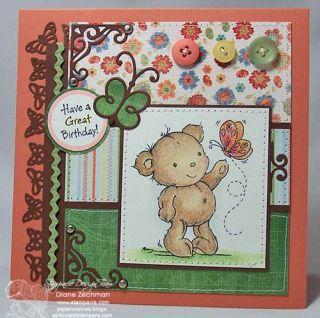 Butterfly Bear Stampavie Penny Johnson Clear Acrylic Art Craft Stamp