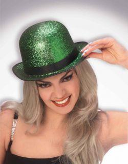 St Patricks Day Green Glitter Leprechaun Costume Derby Hat