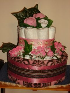 Diaper Cake Pink Floral Design with Pink Brown Baby Blanket