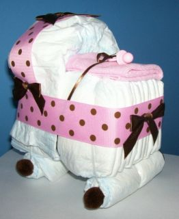 Bassinet Diaper Cake Baby Shower Decor Gift Pink Brown