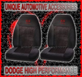 2pc Dodge RAM Logo Black Universal Bucket Seat Covers