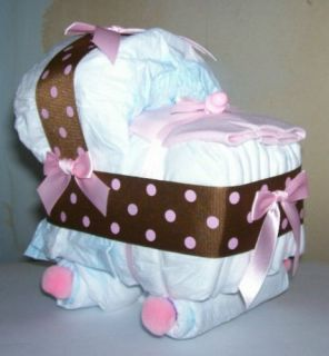 BASSINET DIAPER CAKE BABY SHOWER DECOR GIFT BROWN PINK mini dots