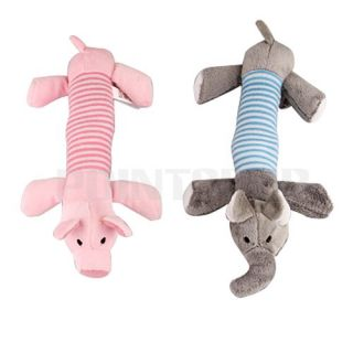 Dog Pet Puppy Chew Squeaker Squeaky Plush Pink Grey Pig Toy