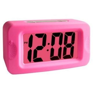 Acctim Pink Vivo Rubber Silicon LCD Digital Alarm Clock