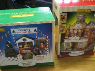 Lot of 2 LEMAX Village Christmas Collection Lighted Building NEW