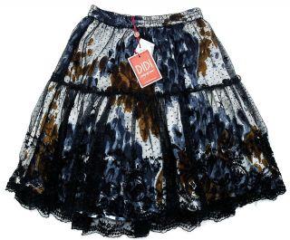 100 Didi Printed Embroidered Mesh Black Skirt Plus Size XXL