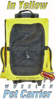 Yellow Airline Dog Backpack Rolling Pet Carrier Luggage WPC Yellow