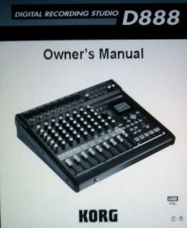 Korg D888 Digital Recording Studio Owners Manual Book Bound Eng Block