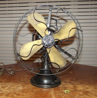 Electric Oscillating Fan 3 Speed Brass Blades Works Great