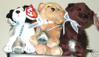 of 3 Hersheys Kisses Dogs  Exclusive Beanie Baby Babies MWMTS