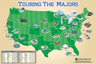 Baseball Stadiums Map of USA Touring The Majors Poster