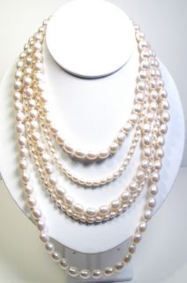 Slane and Slane 5 Strand Silver Multi Strand Pearl Necklace New $850