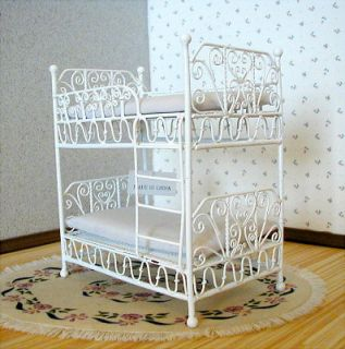 Dollhouse Miniature Furniture ~ White Wire Twin Size Bunk Bed ~