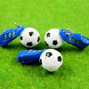 B0036 x 4 15 Pcs Soccer Sport Blue Shoes Gear Ball Finding Charms PVC