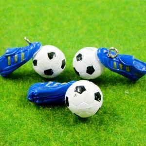 B0036 x 4 15 Pcs Soccer Sport Blue Shoes Gear Ball Finding Charms PVC