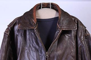 Mens St Johns Bay Leather Hipster Flight Jacket Sz M