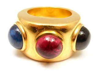 RARE BEAUTY DOMINIQUE AURIENTIS 22K YELLOW GOLD GREEN PINK BLUE