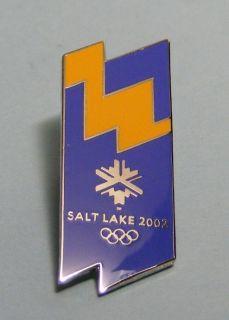 winter olympic blue yellow logo pin lapel pin badge usa slc winter