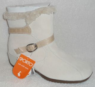 Sporto Dinah Winter White Waterproof Suede Ankle Boots with Thermolite