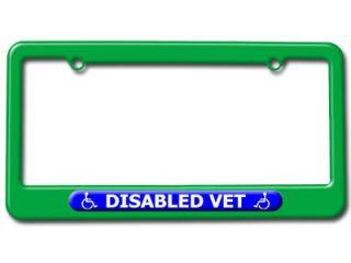 Disabled Vet Handicapped Veteran License Plate Tag Frame Colors