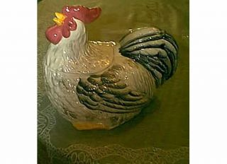 COUNTRY ROOSTER BLACK & WHITE GREY RED COOKIE JAR