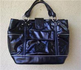 Donald Pliner Black Patent Leather Handbag Tote New