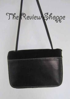 Donald Pliner Small Suede Leather Flap Shoulder Bag Purse Black