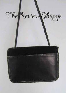 Donald Pliner Small Suede Leather Flap Shoulder Bag Purse Black