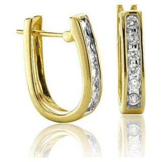 Cut I1/G .30Ctw Diamond Jewelry 14Kt Yellow Gold Hoops Huggie Earrings
