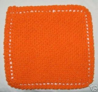 Handmade Knitted Cotton Dishcloth Solid Bright Orange