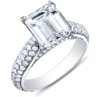 Emerald Cut w/ Round Cut Micro Pave Diamond Platinum Ring G,VVS1 EGL