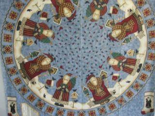 Fabric Christmas Tree Skirt Victorian Santa Fabric 56