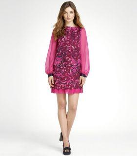 550 Tory Burch Pink Dorrance Printed Chiffon Dress Sz 4
