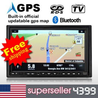 Double DIN 7LCD Car DVD Player Stereo GPS Official Map