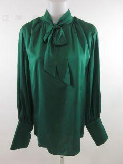 Doo RI Green Bow Tie Neck Long Sleeve Blouse Top Sz 8