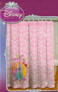 Disney Princess Pink Fabric Shower Curtain Tab Top No Hooks Needed