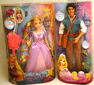 DISNEY TANGLED GROW & STYLE RAPUNZEL & FLYNN RIDER Dolls NEW