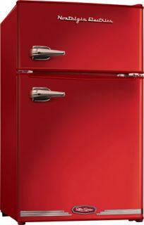 Mini Fridge Freezer Retro Red Refrigerator Compact Small Office Dorm