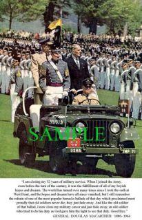 Gen Douglas MacArthur Just Fade Away Speech Photo C
