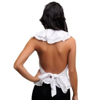 Misses Medium White Ruffled Embroidered Halter Top with Open Tie Back
