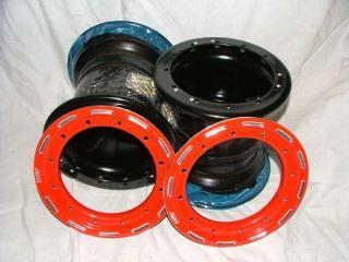 Douglas Beadlock Rear Wheel Set Suzuki LTR450 9 inch Red