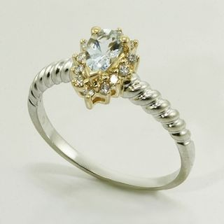 Yellow White Gold Pear Shape Aquamarine Diamond Vintage Ring