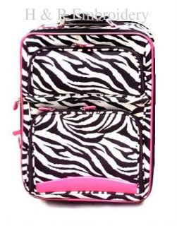 Pink Zebra Luggage Small Rolling Suitcase Personalized