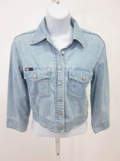 DKNY Jeans Lt Wash Buttoned Denim Cropped Jacket Petite