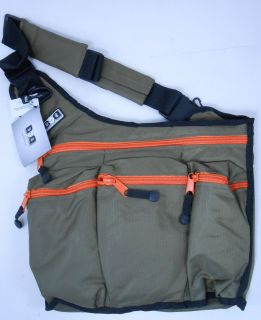 DIAPER DUDE Diaper Bag for Dad Messenger Olive and Orange 112