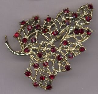 Dodds Vintage Silver Tone Filigree & Red Rhinestones Fall Leaf Pin