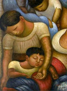 Diego Rivera Moher and Child Oil Paining Repro 36X48