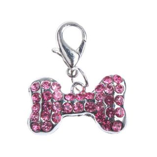 Pet Jewelry Rhinestone Bone Pendants Dog Collar Charms Keyring Chain